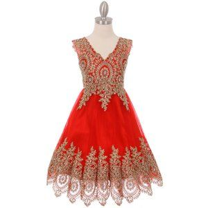 RED Gold Coiled Lace Mesh Tulle Skirt Girl Dress